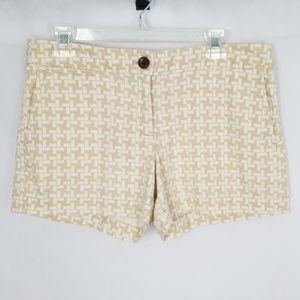 Loft Tan and White Cotton Shorts Size 6